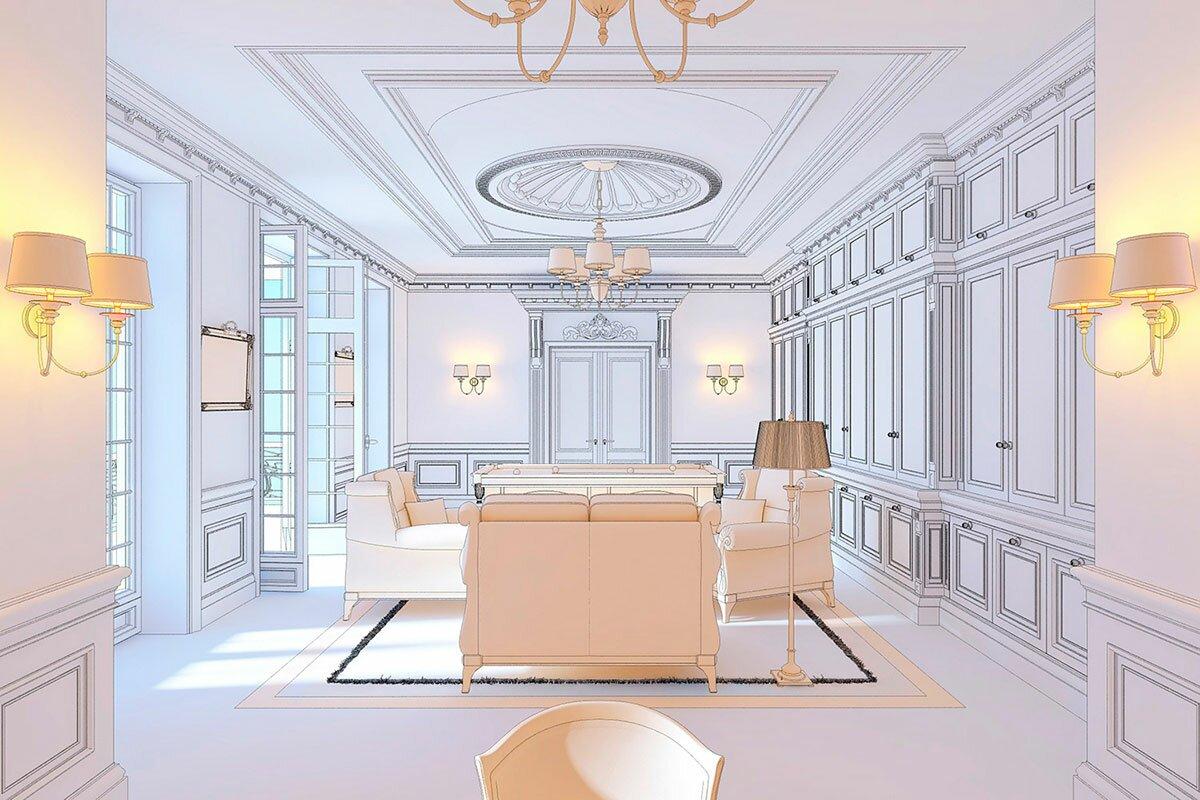 Эскизный дизайн интерьера, кабинет средняя классика, классический интерьер, АБВ интериорс ABV Interiors Артем Болдырев