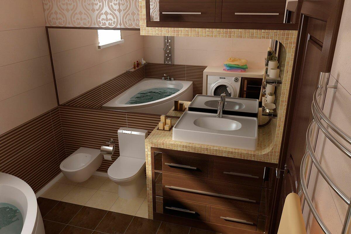 Дизайн интерьера ванной комнаты. Современный стиль Коричневая ванная bathroom АБВ интериорс ABV Interiors Артем Болдырев