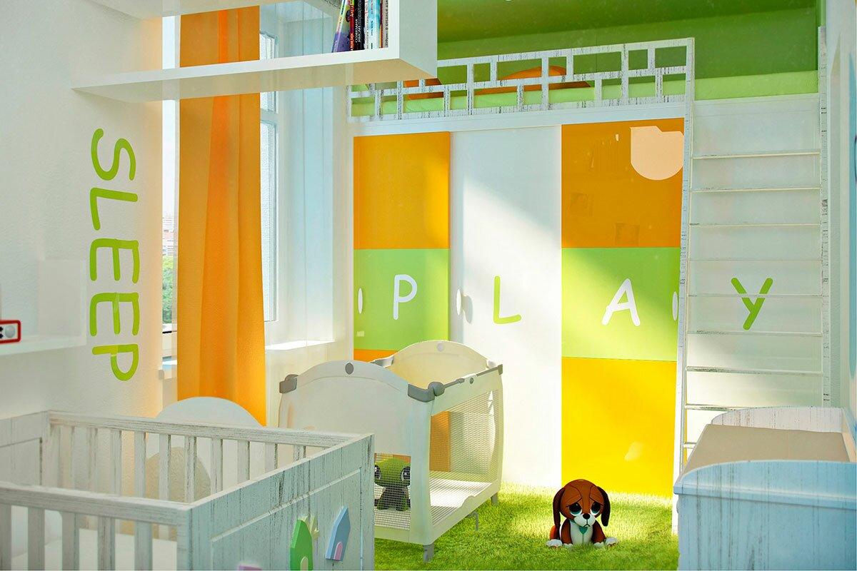 Дизайн интерьера детской комнаты в современном стиле АБВ интериорс ABV Interiors Артем Болдырев